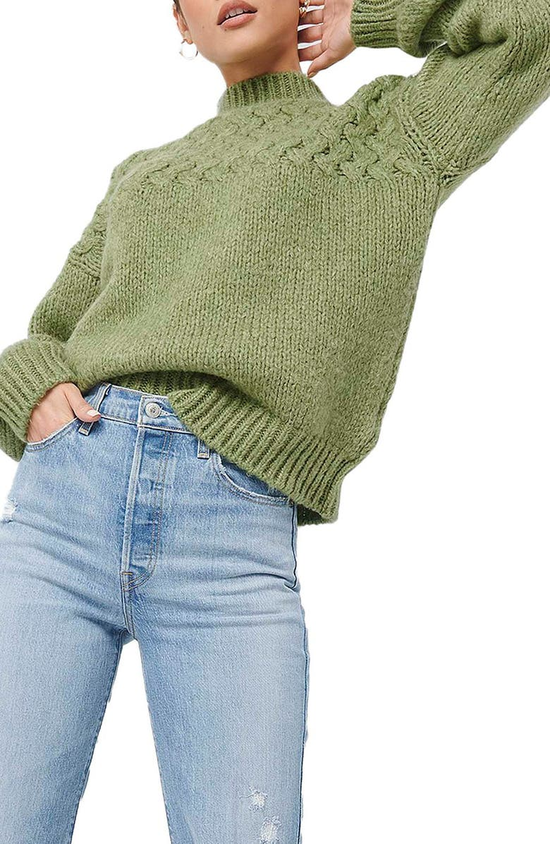 NA-KD Cable Knit Mock Neck Sweater, Main, color, 300