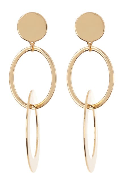 Image of J. Crew Double Hoop Layered Drop Earrings