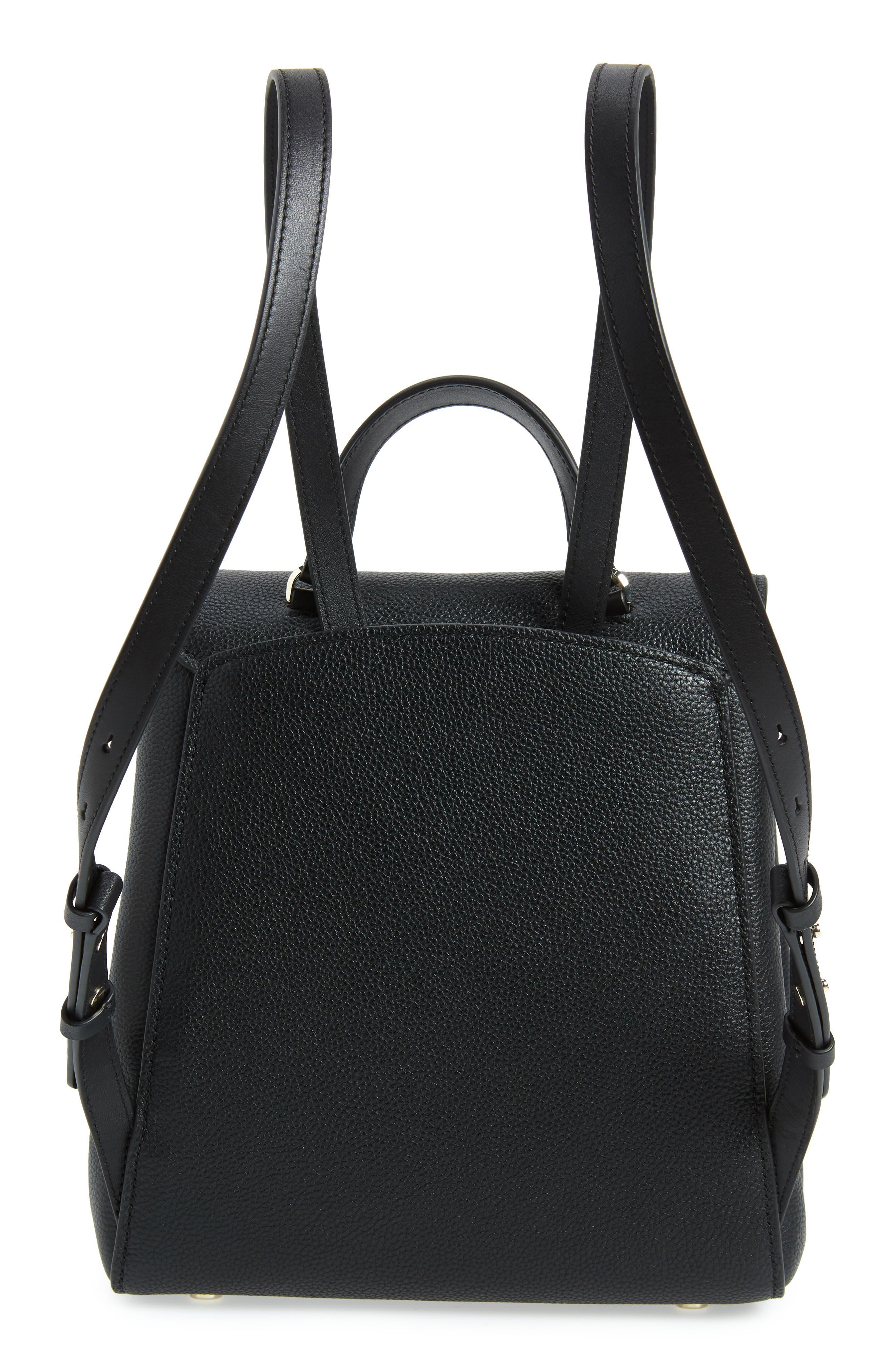 ,                             medium grace leather backpack,                             Alternate thumbnail 4, color,                             BLACK