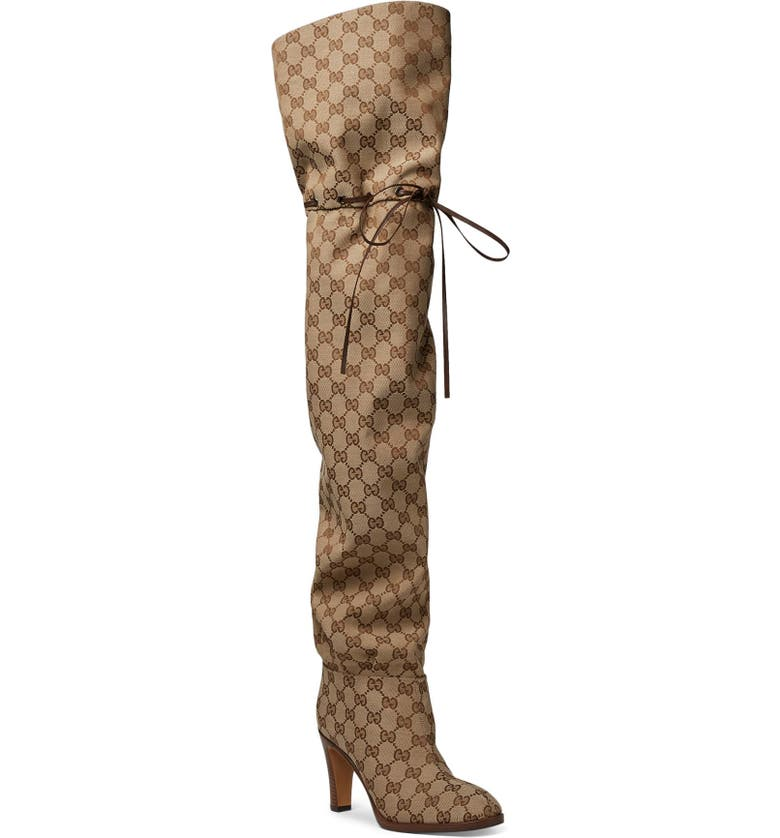 GUCCI Original GG Canvas Over the Knee Boot, Main, color, 250