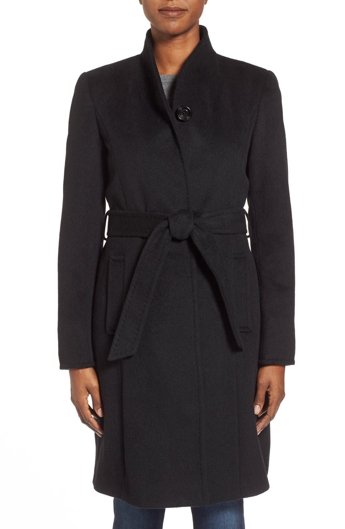 ,                             Belted Wool Blend Stand CollarCoat,                             Main thumbnail 6, color,                             001