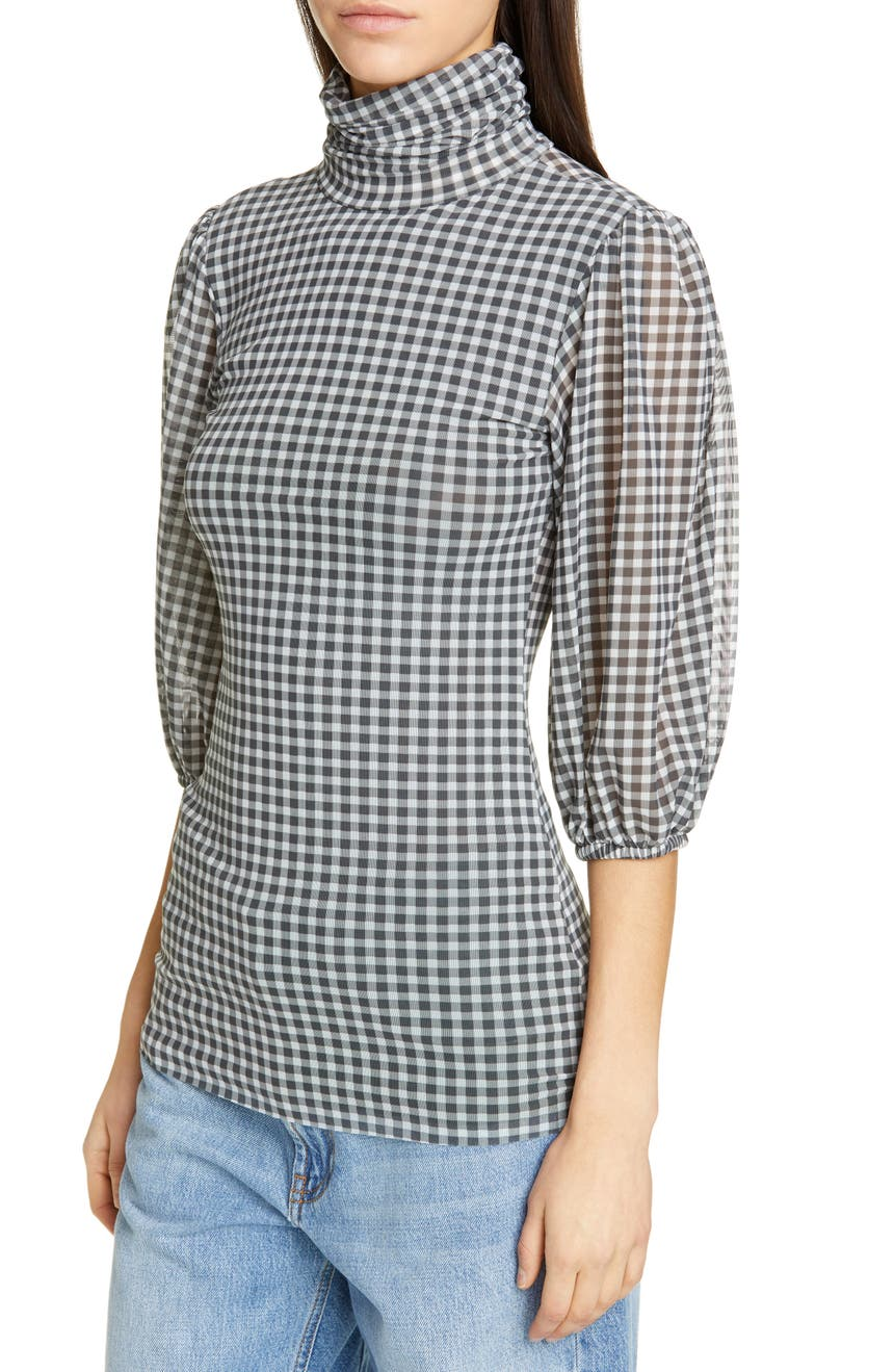 8660ffca Ganni Check Print Mesh Top | Nordstrom