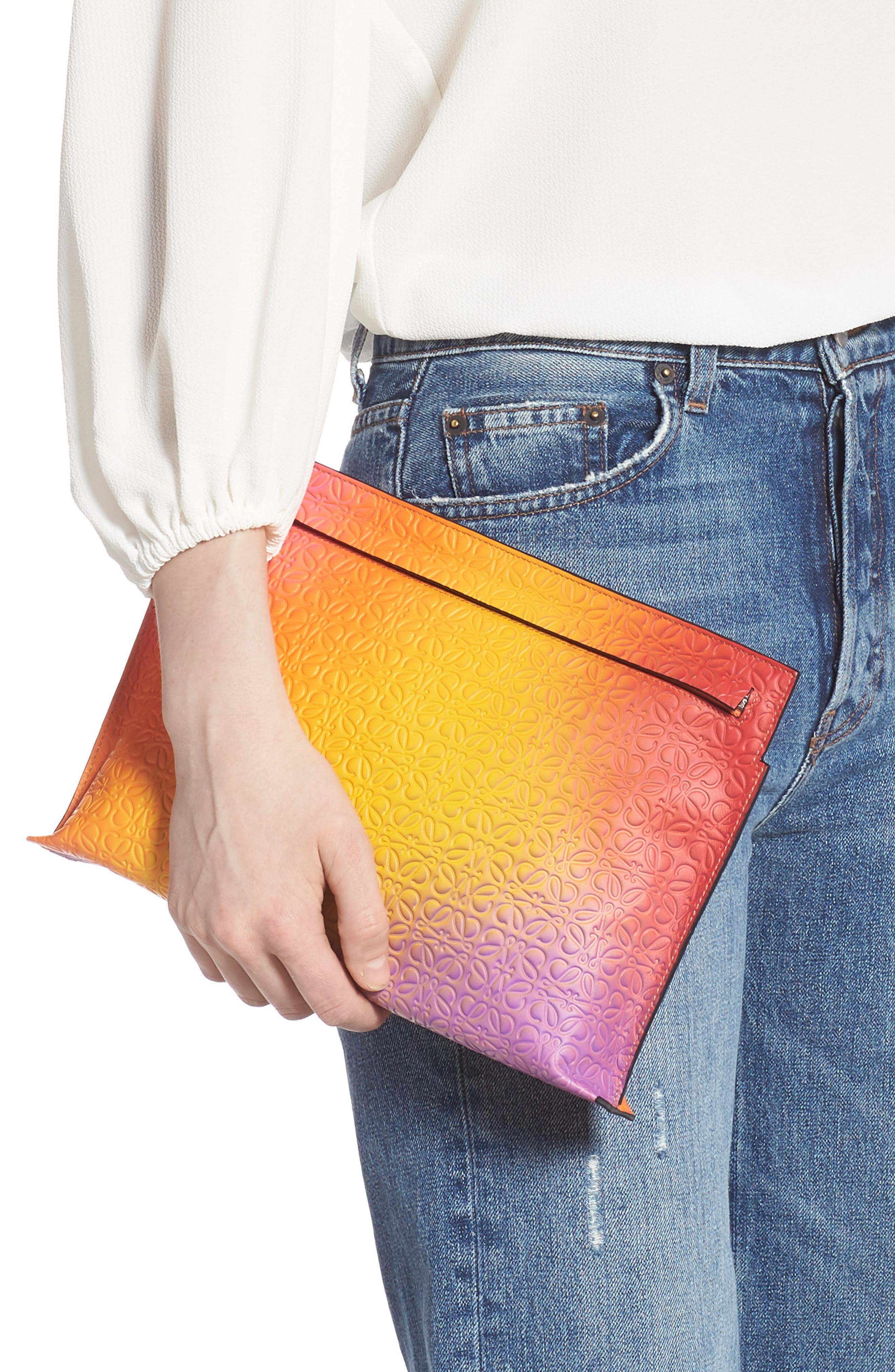 ,                             Repeat Spray Calfskin Leather T Pouch,                             Alternate thumbnail 2, color,                             ORANGE SUNSET