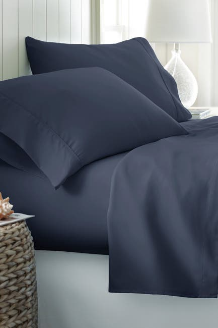 Image of IENJOY HOME Full Hotel Collection Premium Ultra Soft 4-Piece Bed Sheet Set - Navy