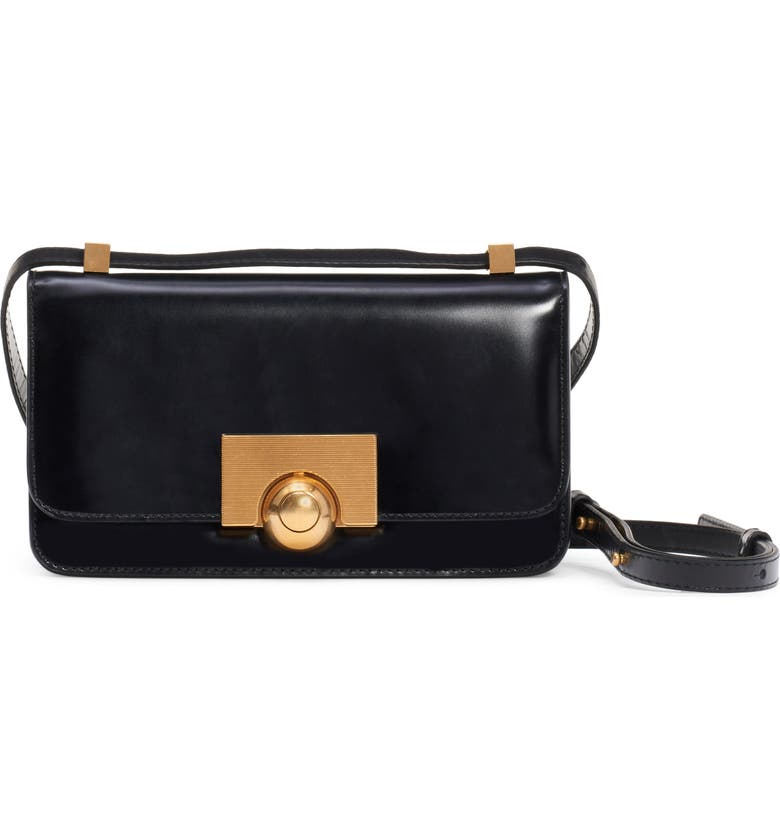 BOTTEGA VENETA BV Classic Leather Shoulder Bag, Main, color, NERO/ GOLD