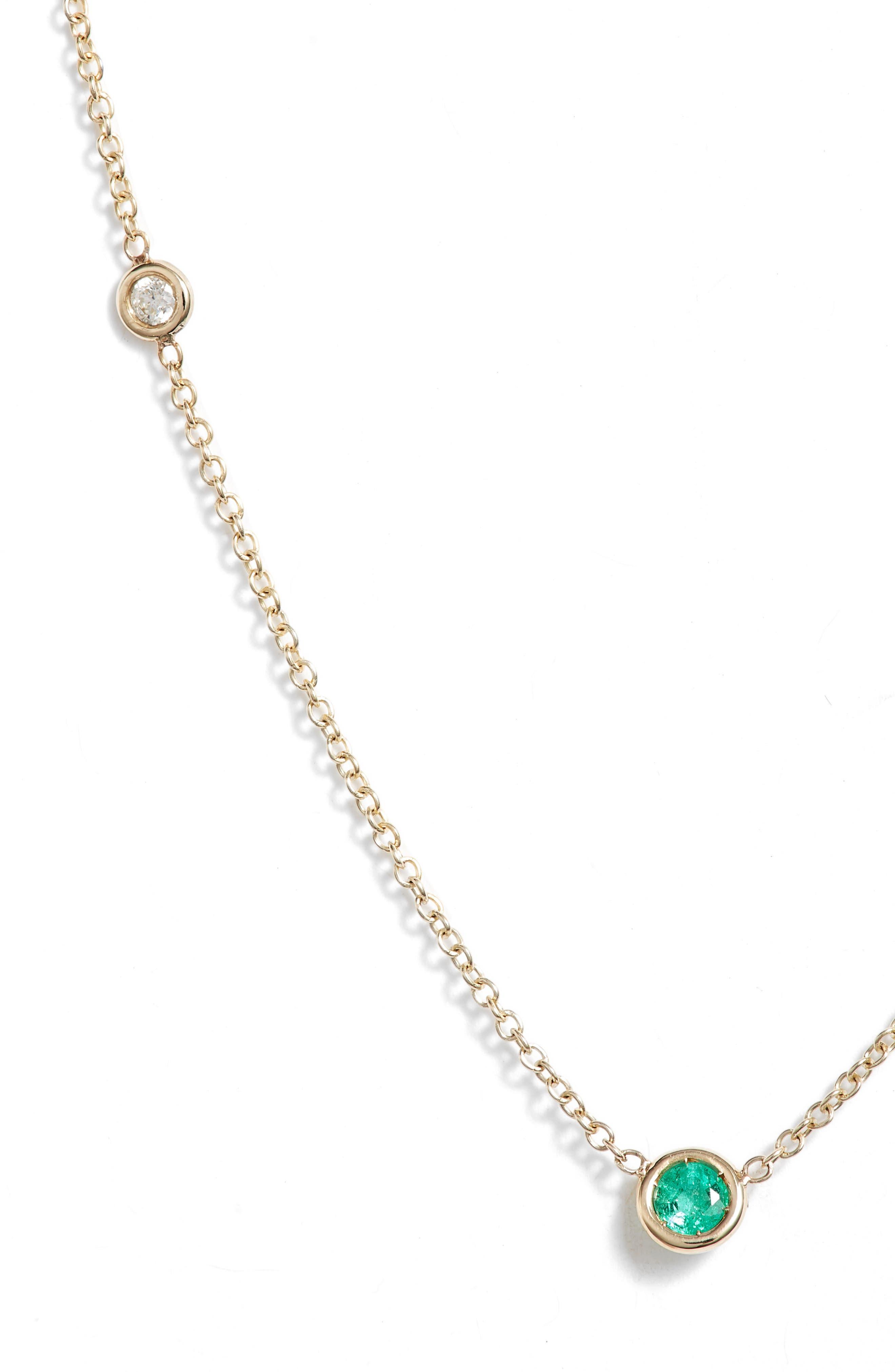 Zoe Chicco Emerald And Diamond Bezel Set Station Necklace