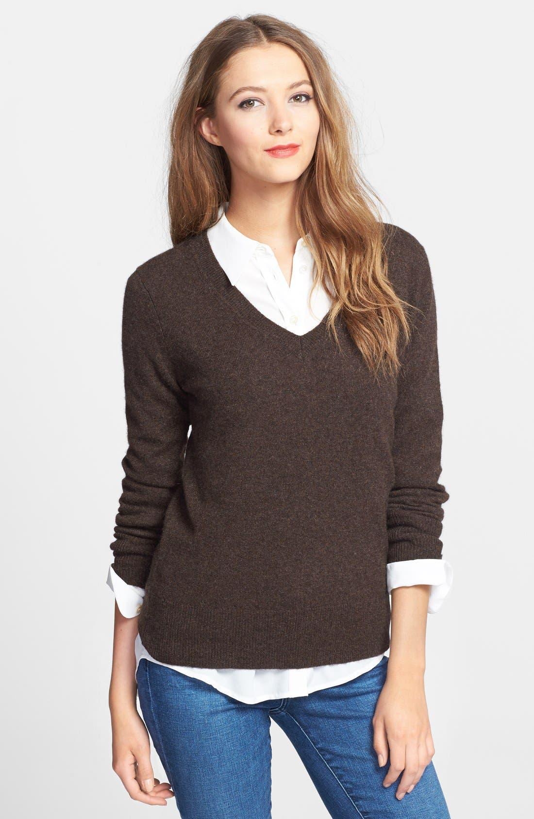 ,                             Cashmere V-Neck Sweater,                             Main thumbnail 17, color,                             200