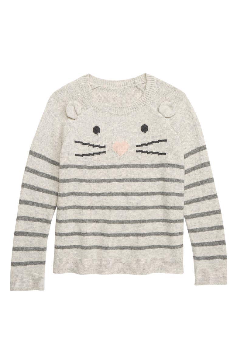 TUCKER + TATE Cute Mouse Intarsia Sweater, Main, color, GREY ASH HEATHER MOUSE