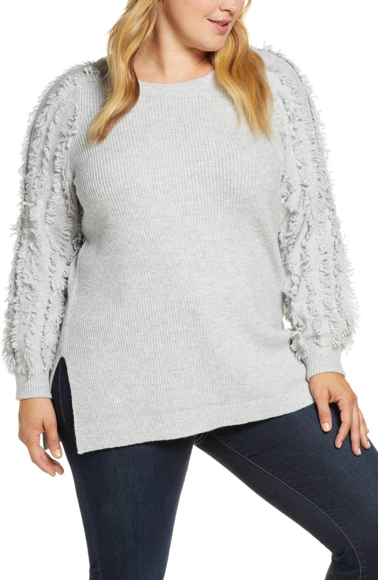 1.STATE Fringe Sleeve Crewneck Cotton Blend Sweater, Main, color, SILVER HEATHER
