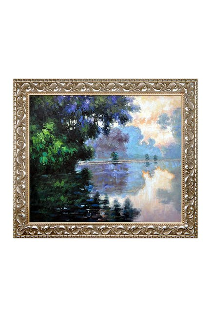 Image of Overstock Art Morning on the Seine Near Giverny by Claude Monet Framed Hand Painted Oil on Canvas