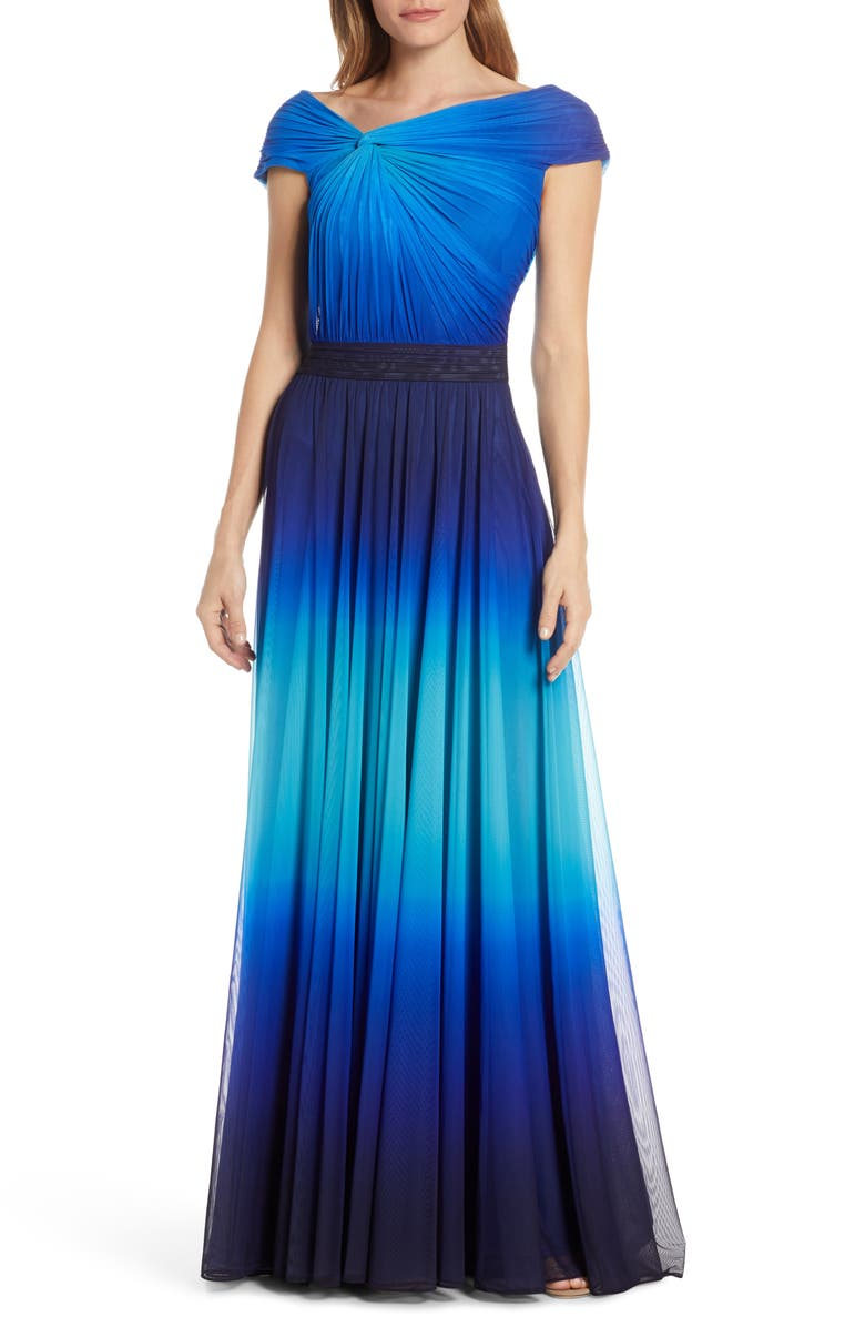 TADASHI SHOJI Knotted Ombré Mesh Evening Gown, Main, color, PACIFIC BLUE OMBRE