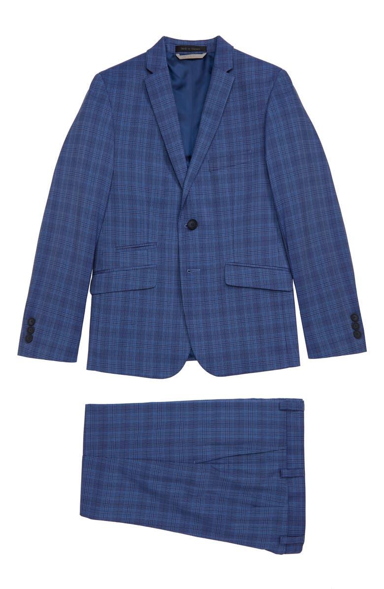 ANDREW MARC Plaid Suit, Main, color, LIGHT BLUE PLAID