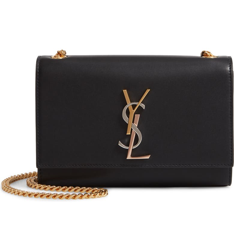SAINT LAURENT Small Kate Leather Shoulder Bag, Main, color, NOIR