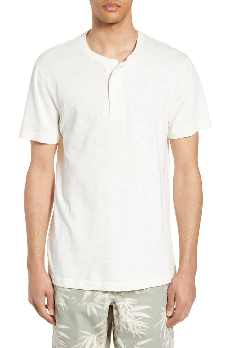 FRENCH CONNECTION Slubbed Short Sleeve Henley, Main, color, MILK