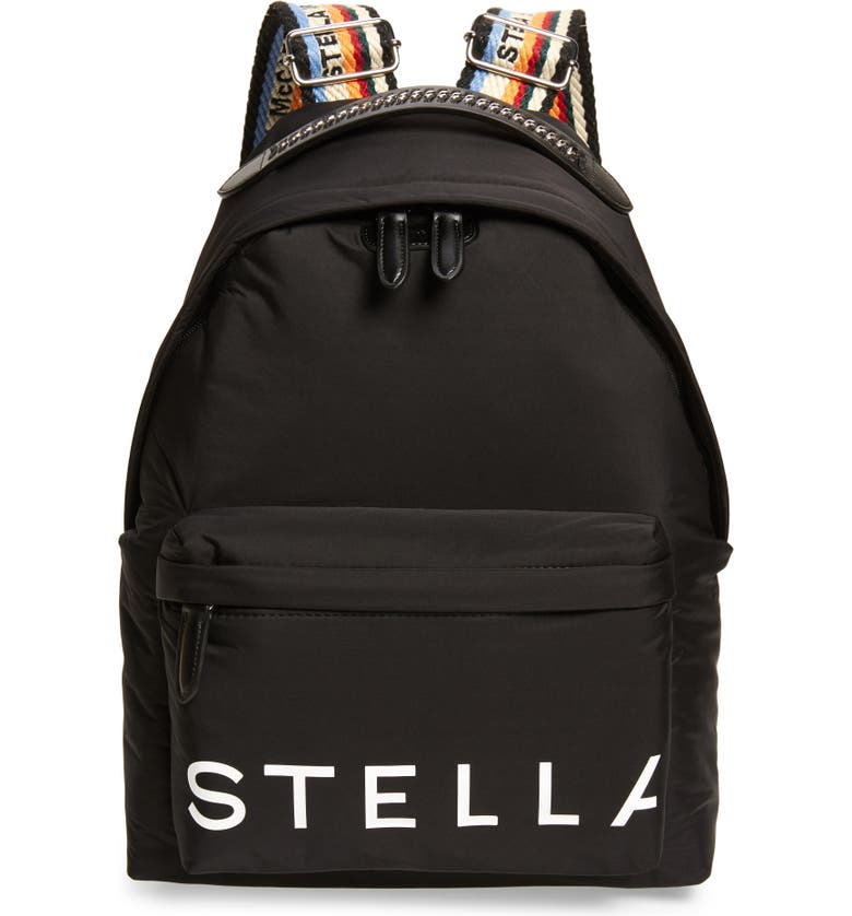 STELLA MCCARTNEY Padded Nylon Backpack, Main, color, BLACK