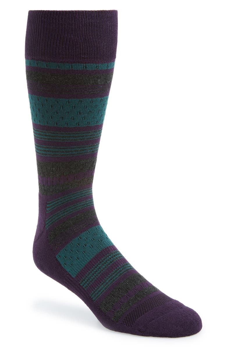 NORDSTROM MEN'S SHOP Stripe Socks, Main, color, PURPLE/ CHARCOAL