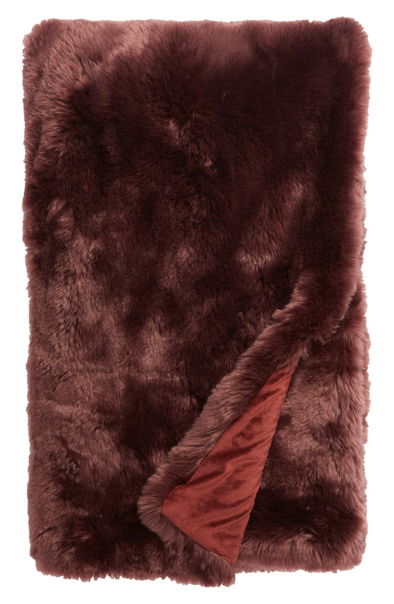 NORDSTROM AT HOME Cuddle Up Faux Fur Throw Blanket, Main, color, BURGUNDY STEM