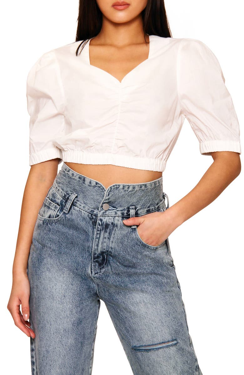 ABSENCE OF COLOUR Gust Crop Top, Main, color, WHITE