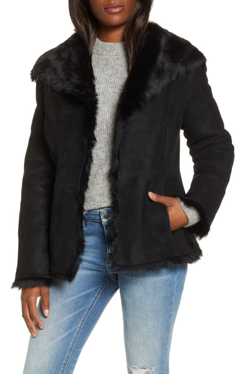 UGG<SUP>®</SUP> Karlene Genuine Toscana Shearling Jacket, Main, color, BLACK