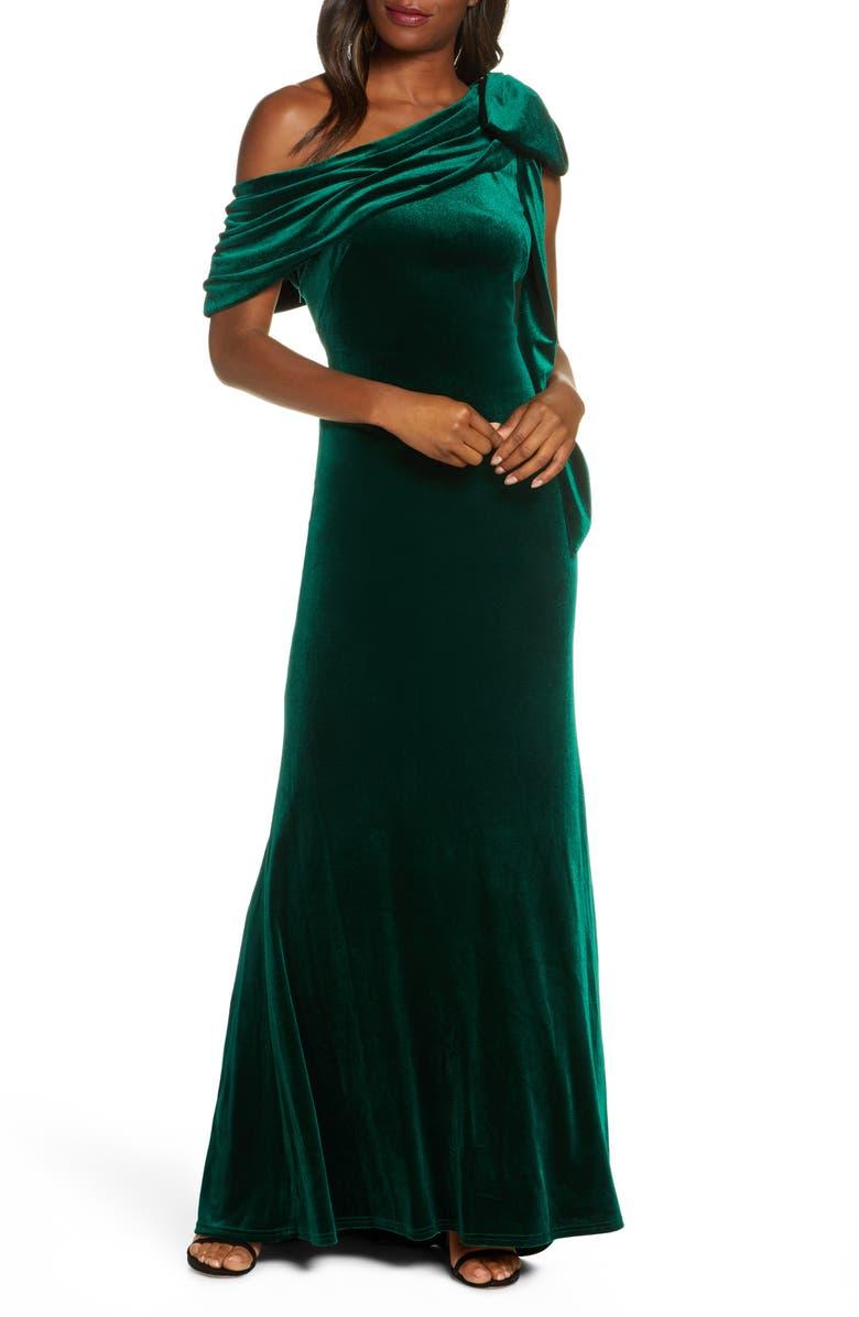 TADASHI SHOJI One-Shoulder Bow Velvet Gown, Main, color, EUCALYPTUS