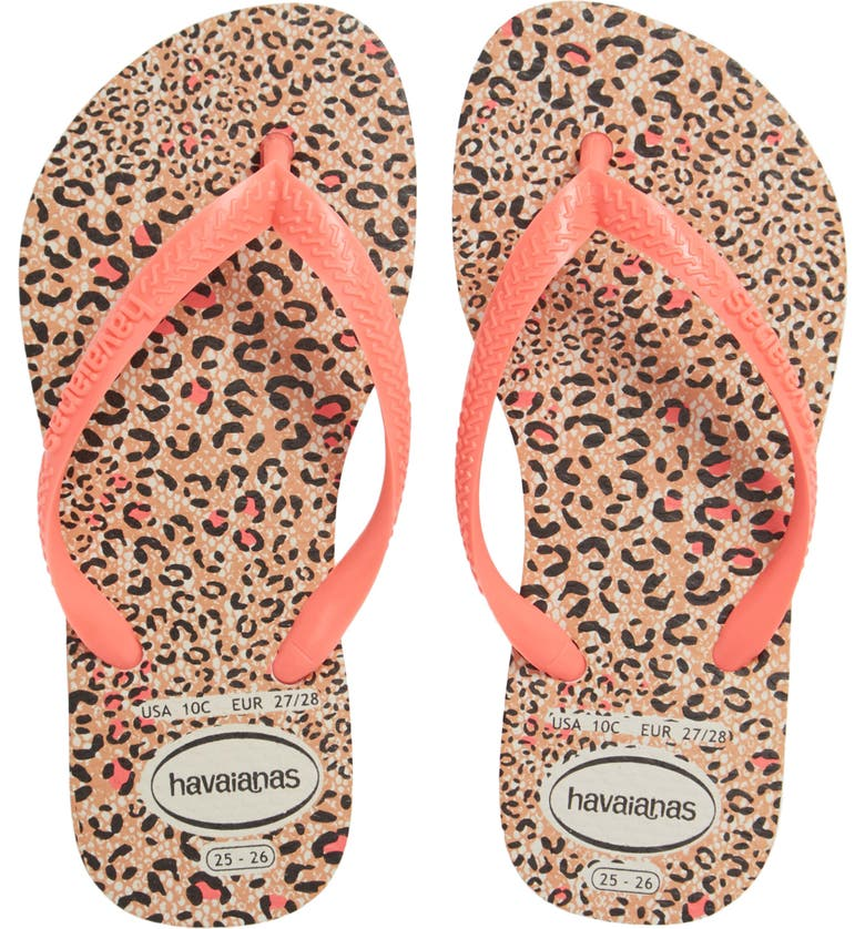 HAVAIANAS 'Slim' Animal Print Flip Flop, Main, color, WHITE/ CORAL