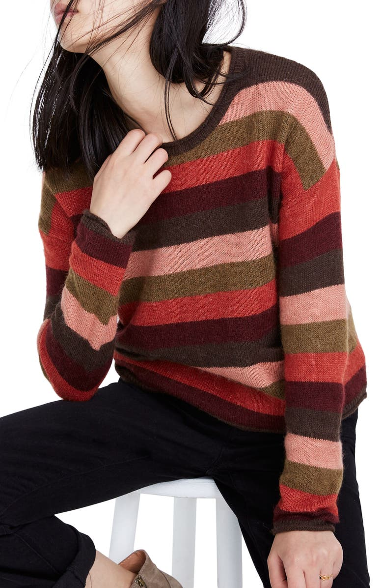 MADEWELL Striped Pocket Pullover, Main, color, SWEET DAHLIA