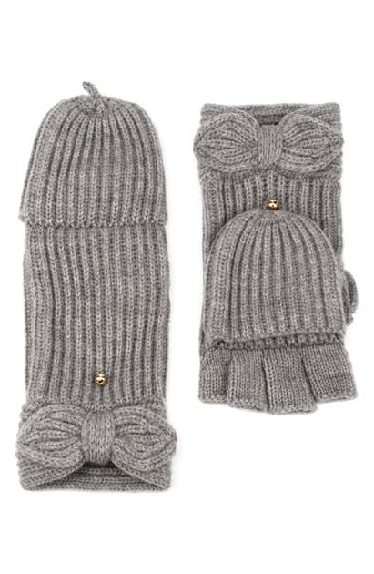 Kate Spade Pointy Bow Pop Top Mittens In Gray