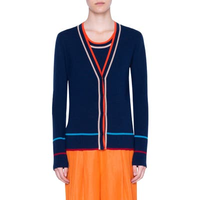 Akris Punto Stripe Ribbed Stretch Merino Wool Cardigan, Blue