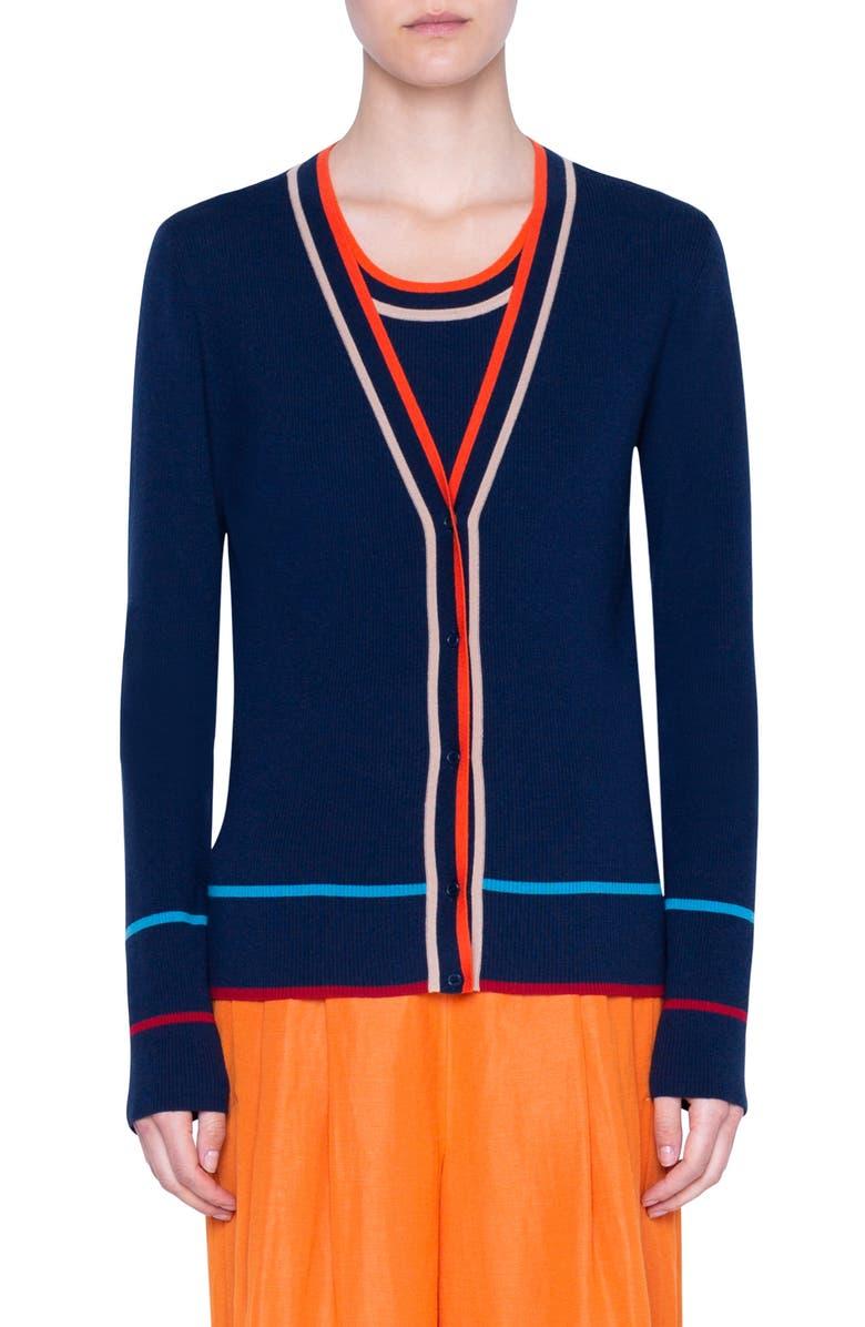 AKRIS PUNTO Stripe Ribbed Stretch Merino Wool Cardigan, Main, color, NIGHT SKY MULTICOLOR