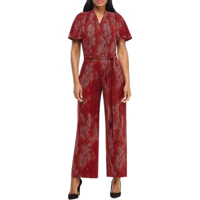 Maggy London Print Flutter Sleeve Jumpsuit, Red