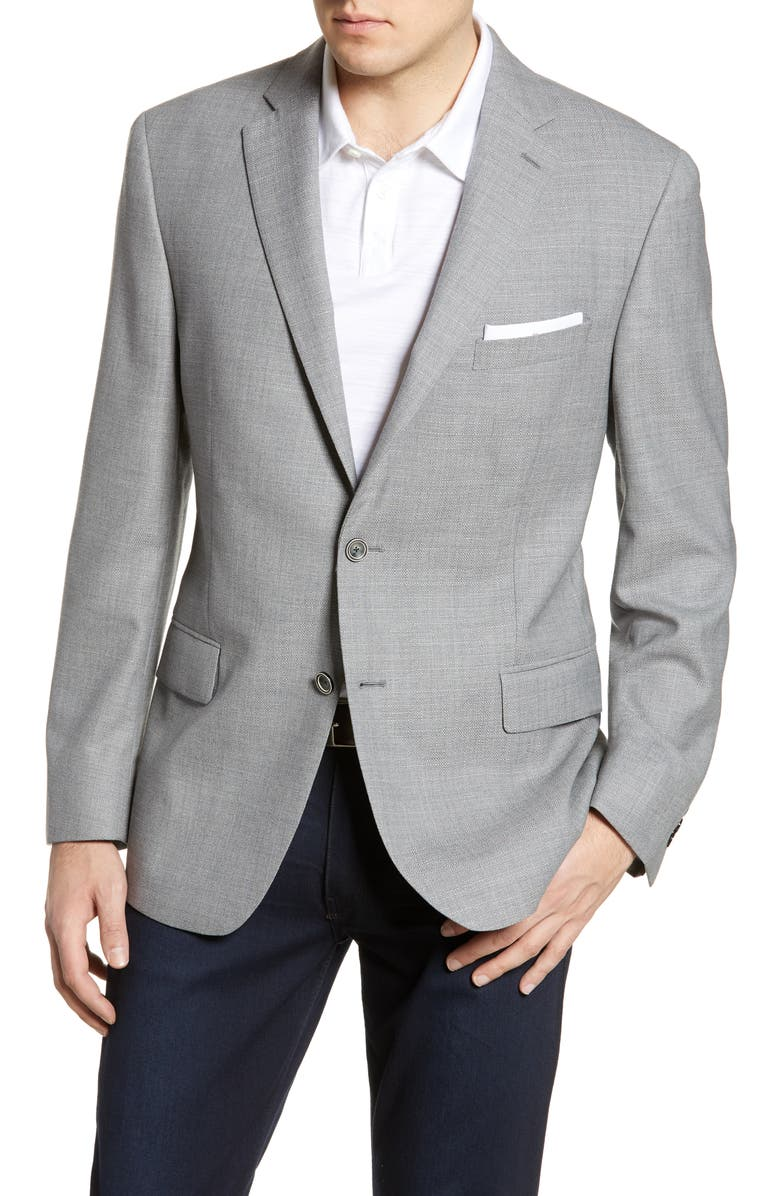 HART SCHAFFNER MARX New York Fit Solid Wool Blazer, Main, color, GREY