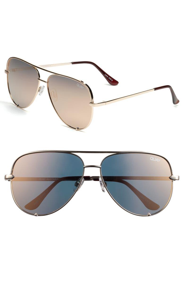 QUAY AUSTRALIA x Desi Perkins High Key 62mm Aviator Sunglasses, Main, color, GOLD/ GOLD MIRROR
