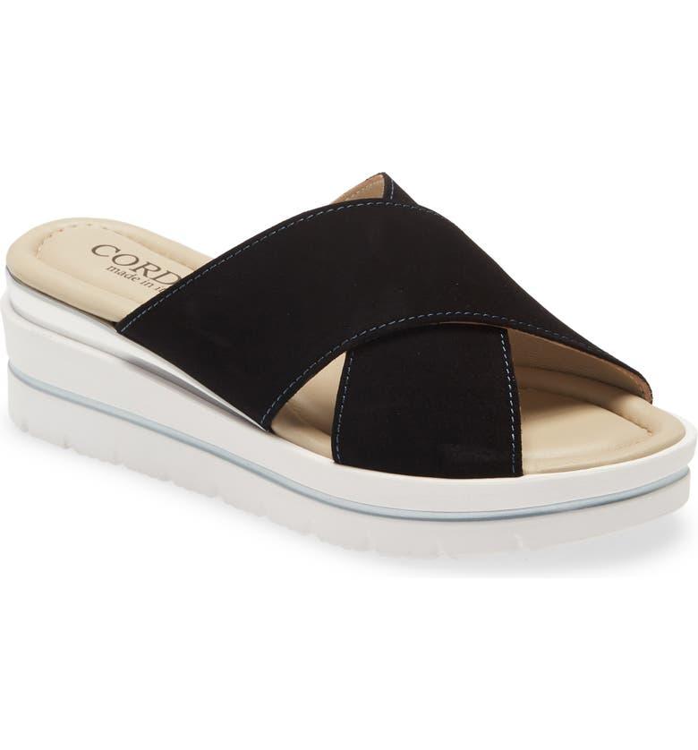CORDANI Aramis Wedge Slide Sandal, Main, color, NAVY SUEDE
