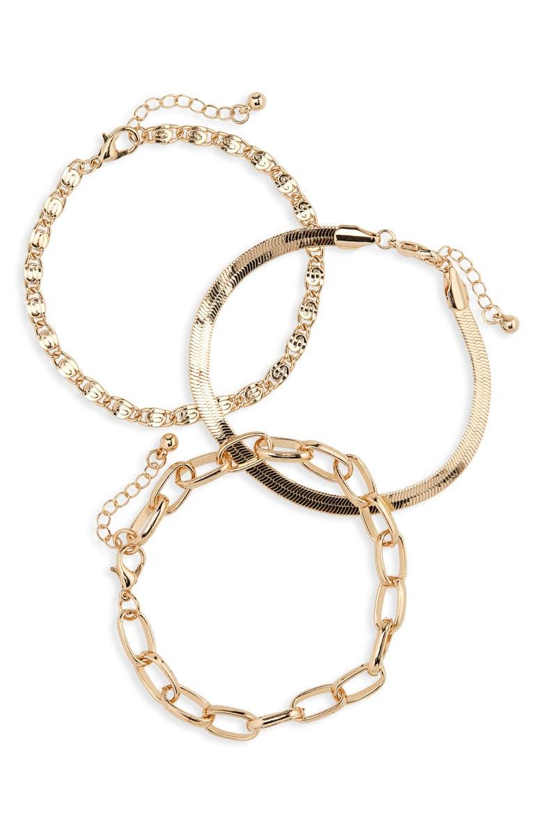 BP. Set of 3 Mixed Chain Bracelets, Main, color, GOLD