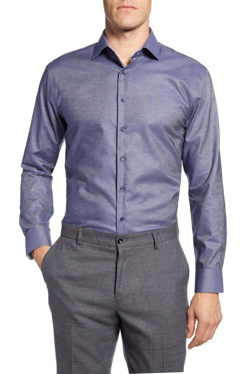 NORDSTROM MEN'S SHOP Trim Fit Non-Iron Solid Dress Shirt, Main, color, BLUE FJORD