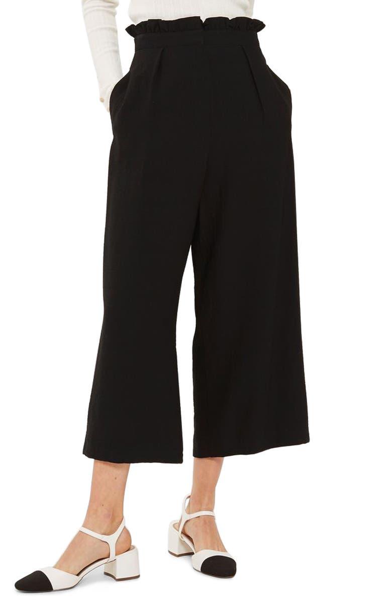 TOPSHOP Ruffle Waist Trousers, Main, color, 001