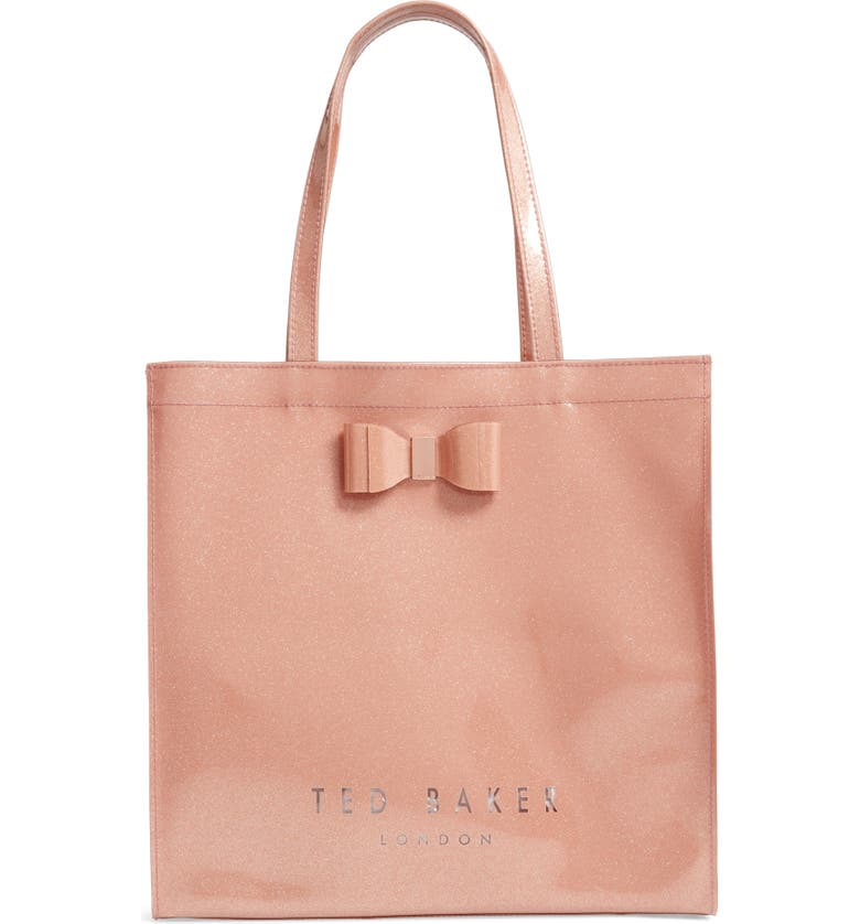 TED BAKER LONDON Large Sizzcon Glitter Tote, Main, color, ROSE GOLD