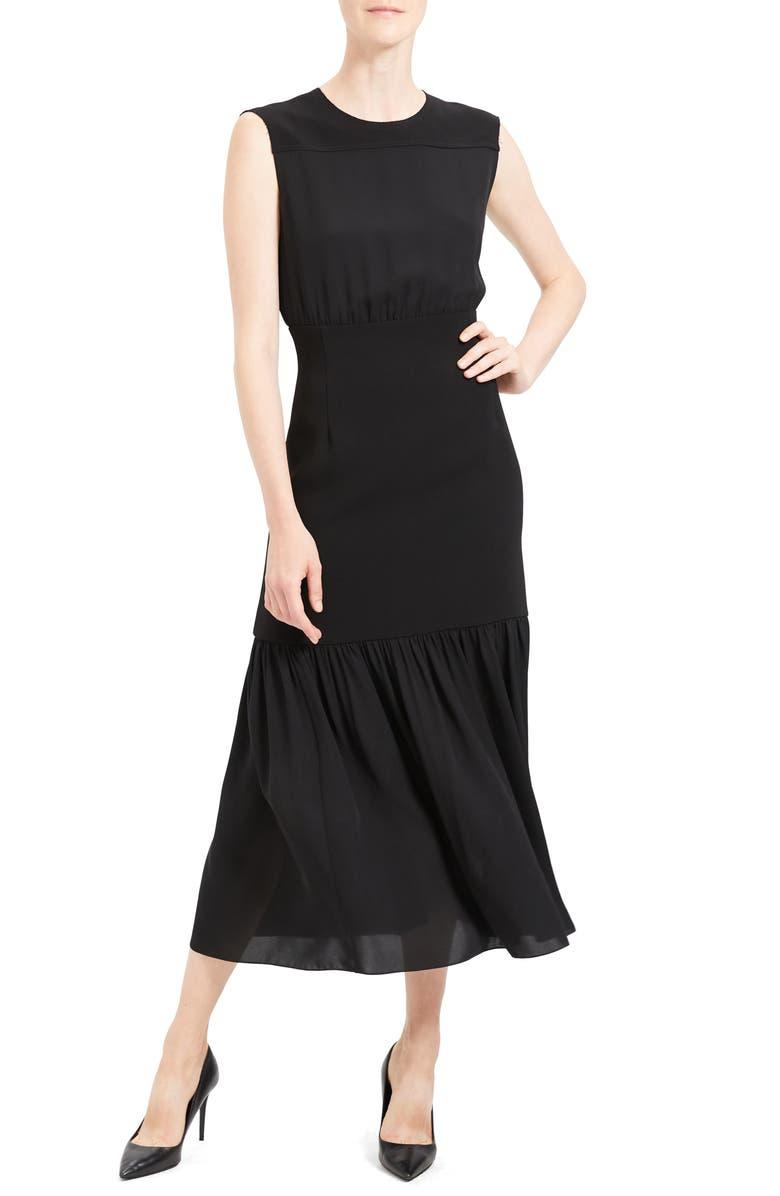THEORY Blouson Bodice Sleeveless Silk Dress, Main, color, 001