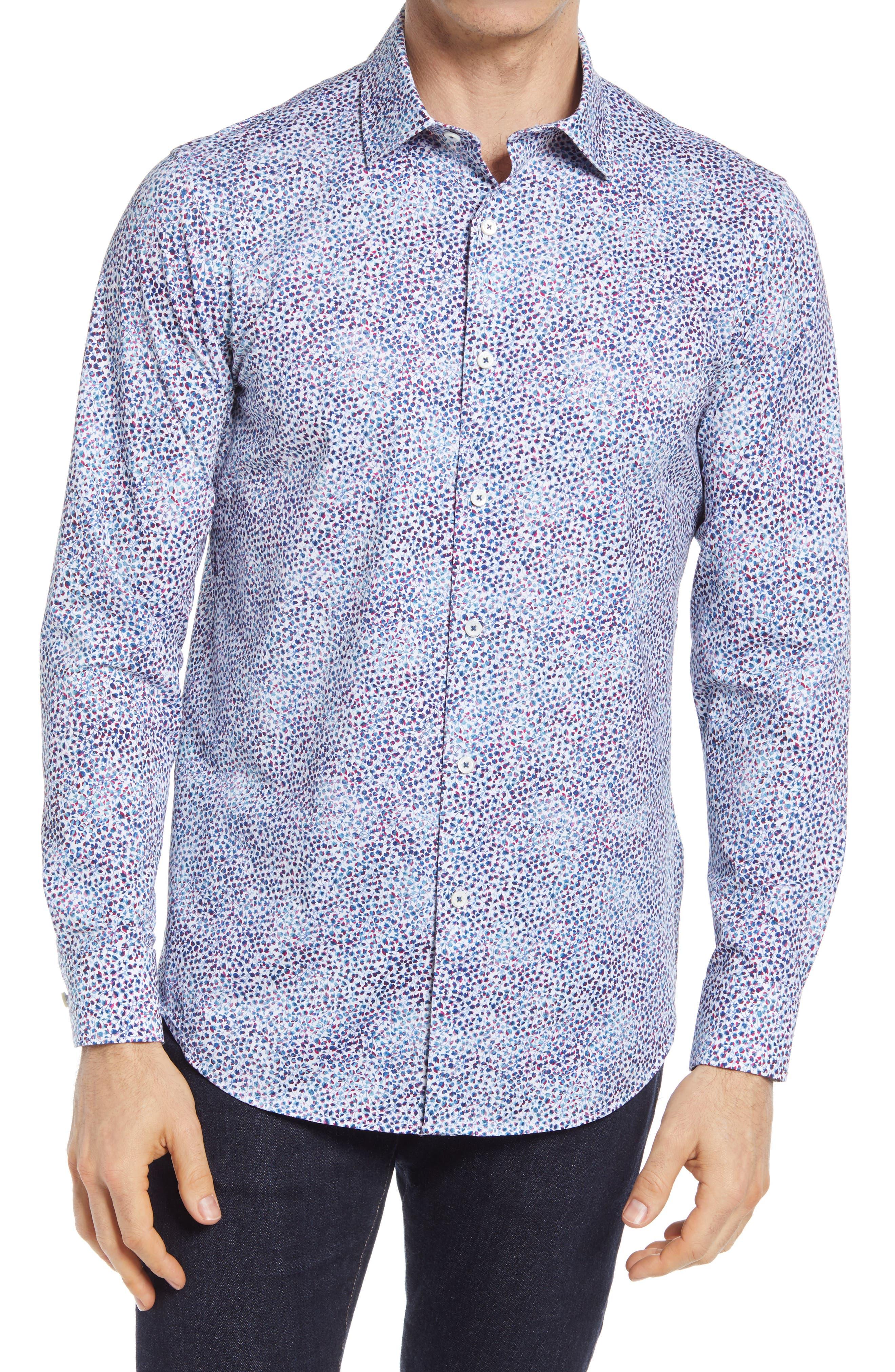 Ooohcotton Tech Floral Knit Button-Up Shirt