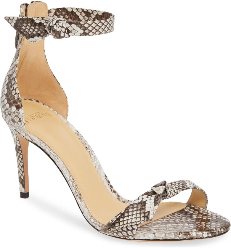 ALEXANDRE BIRMAN Clarita Genuine Python Ankle Tie Sandal, Main, color, 025