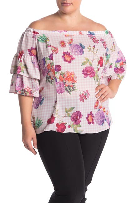 Image of City Chic Spring Bloom Off-the-Shoulder Floral Print Top