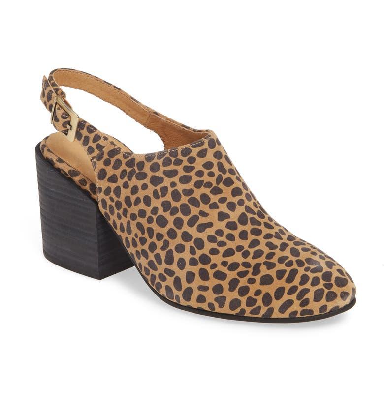 CHOCOLAT BLU Jenna Leopard Print Slingback Mule, Main, color, LEOPARD PRINT SUEDE