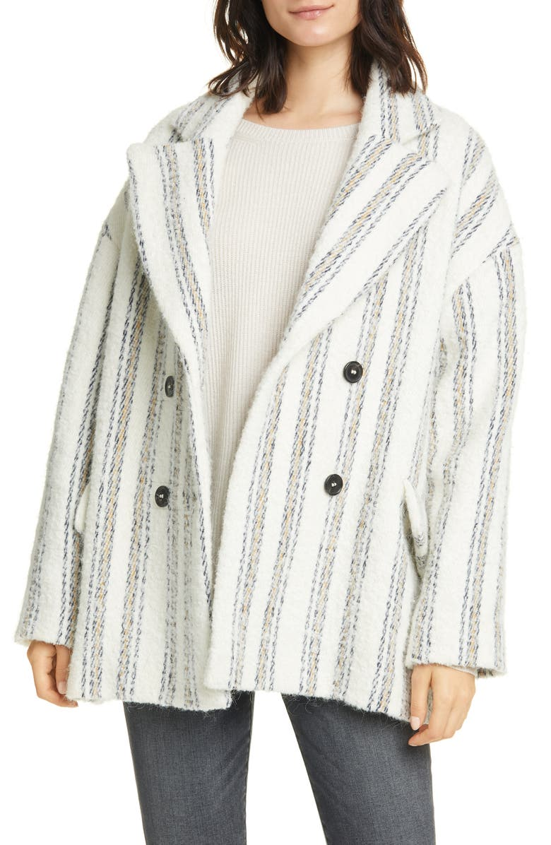 BA&SH Fillie Stripe Double Breasted Coat, Main, color, 900