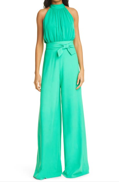 Alice And Olivia THELMA HALTER NECK WIDE LEG JUMPSUIT