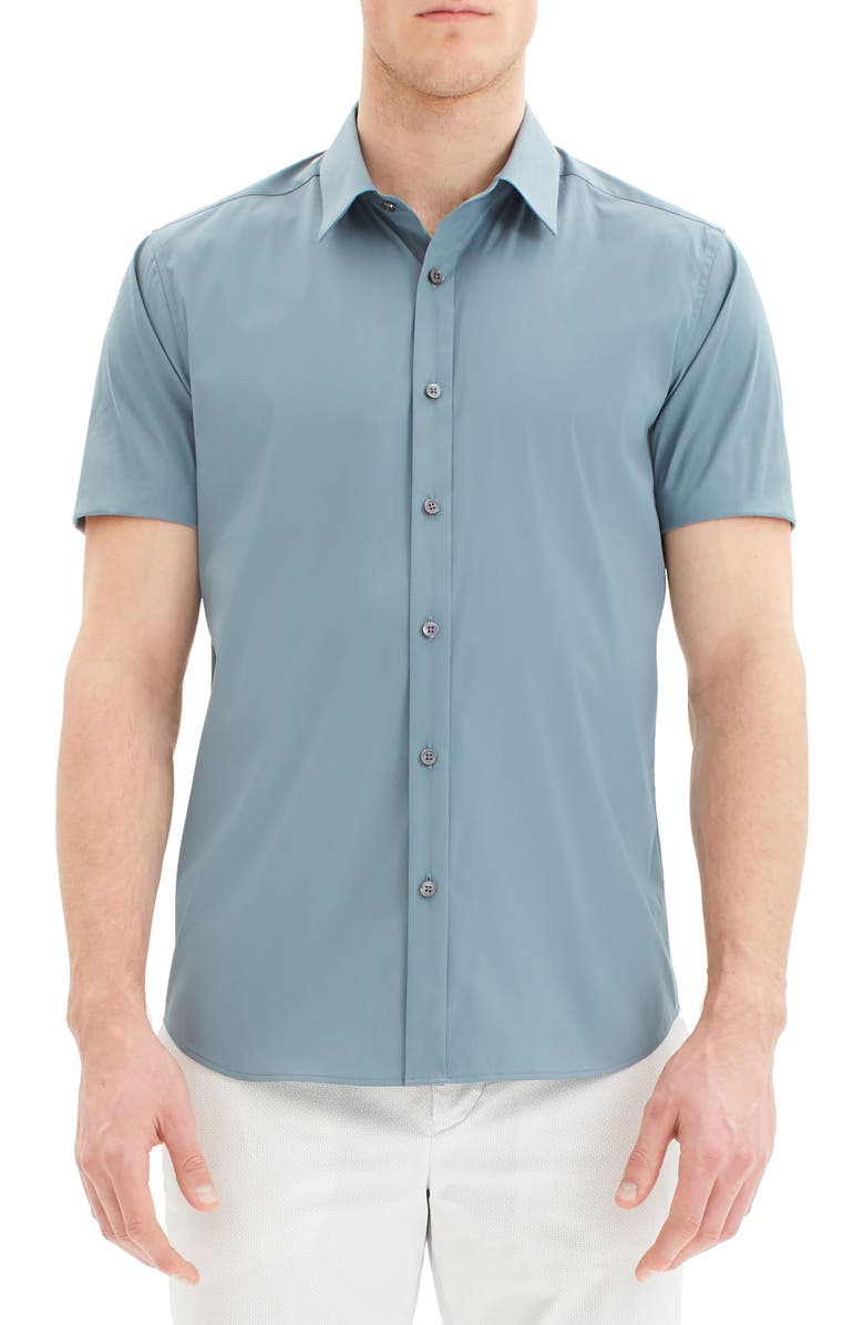 THEORY Sylvain Slim Fit Short Sleeve Button-Up Stretch Cotton Shirt, Main, color, ALOE