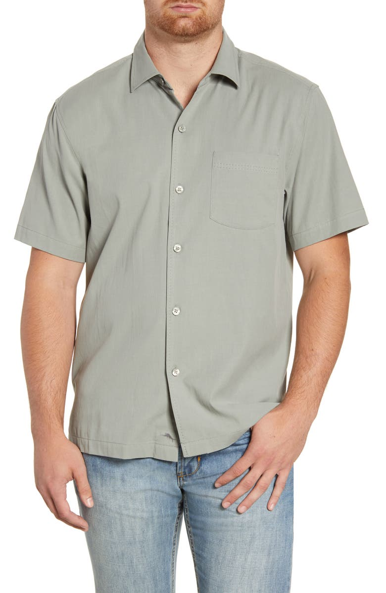 TOMMY BAHAMA Catalina Silk Blend Shirt, Main, color, DOVE GREY