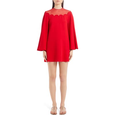 Valentino Scallop Neck Long Sleeve Silk Cady Minidress, US / 48 IT - Red
