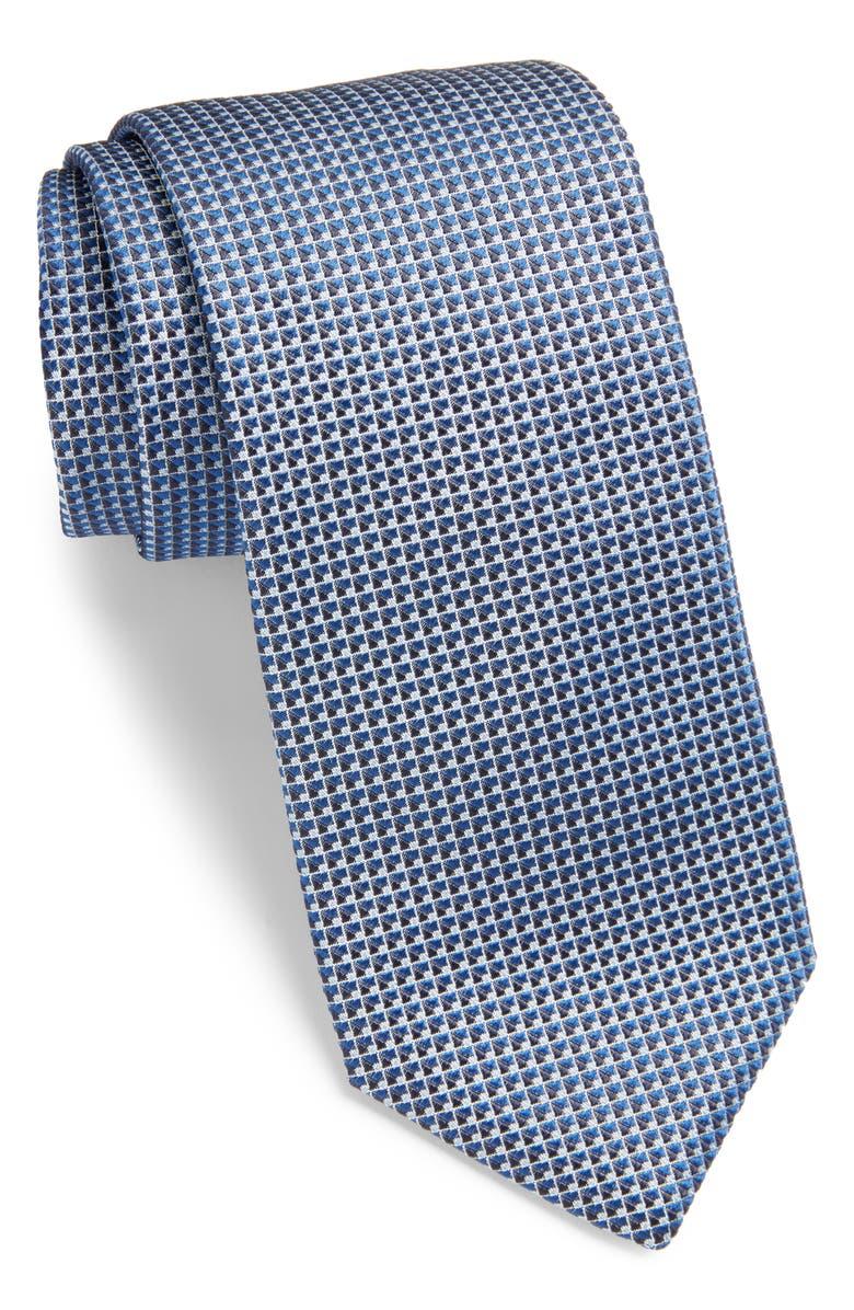 BOSS Geometric Silk Tie, Main, color, 450