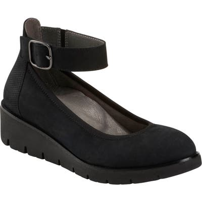 Earth Zurich Sion Ankle Strap Wedge, Black
