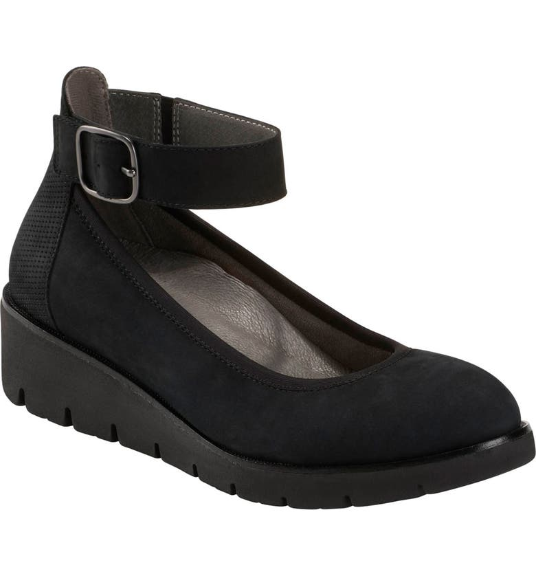 EARTH<SUP>®</SUP> Zurich Sion Ankle Strap Wedge, Main, color, BLACK NUBUCK LEATHER